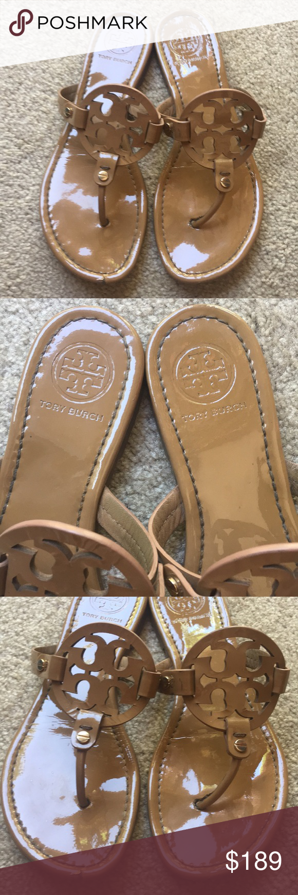 9b7beaa93891 Tory Burch Sand Nude Patent Leather Miller Sandals Tory Burch Miller s in a size  8 M
