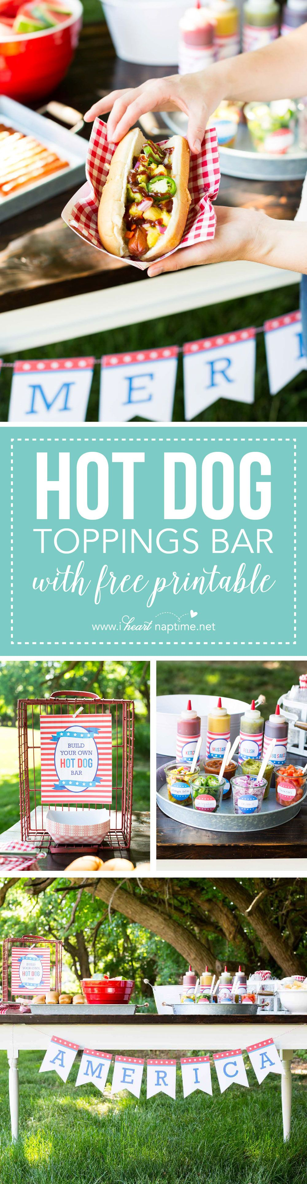Hot dog toppings bar for the 4th of july fiestas - Comida para cumpleanos adulto ...
