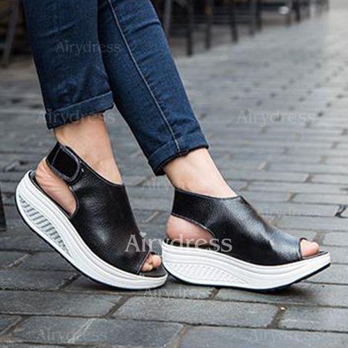 Zapatos Cuñas De mujer Salón Plataforma Cerrados Piel Tacón cuña - Airydress 0e041f135890