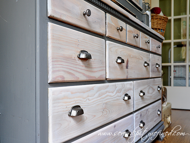 Grey Painted Pine Dresser Makeover With Natural And White Stained Drawers From Serendipity Refined Pine Bedroom Furniture Pine Dresser Staining Furniture