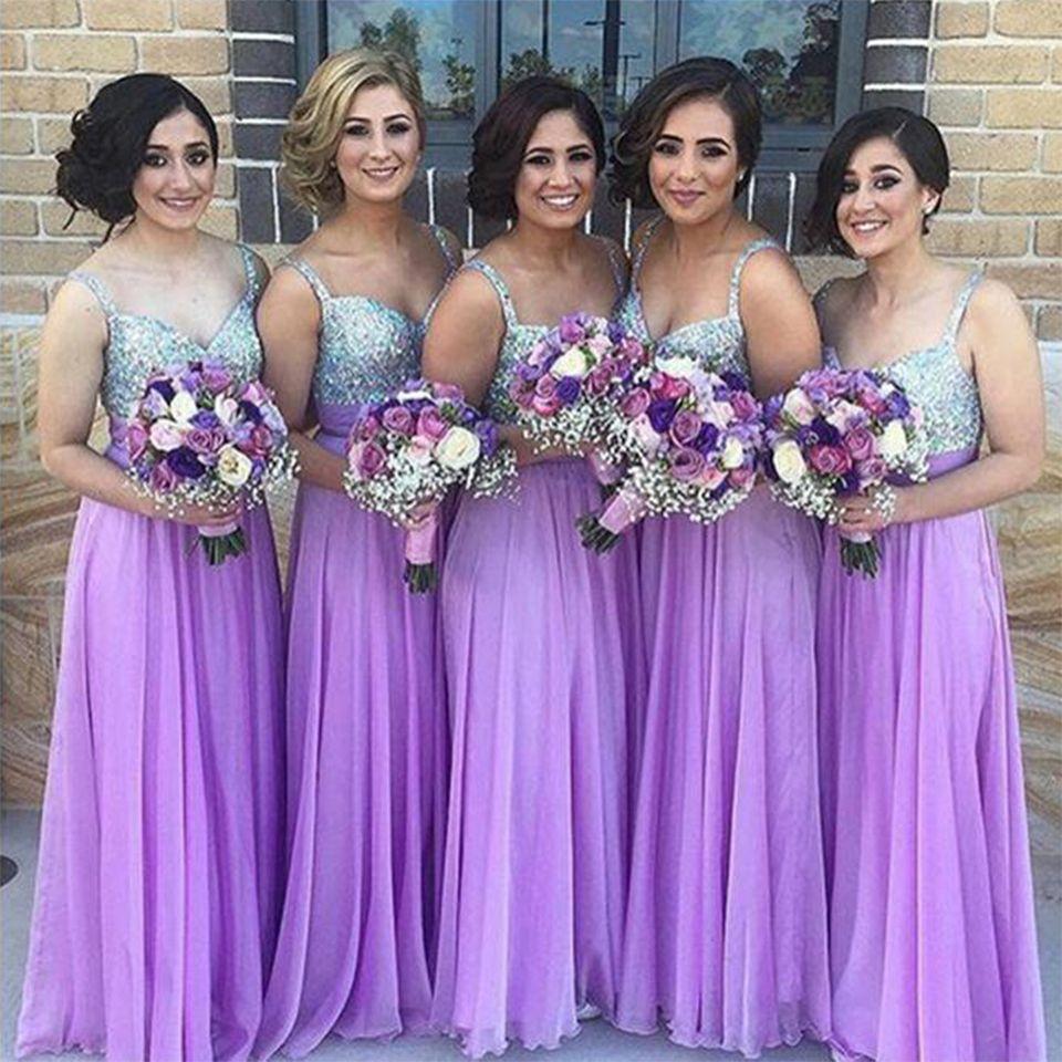 Find a Shinning Long Light Purple Lavender Bridesmaid Dresses Beaded ...