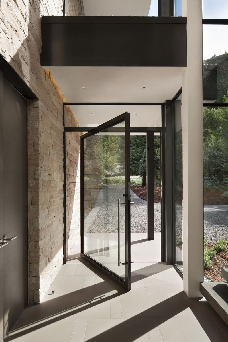 Gorgeous New Build In Aspen Is Like Living Outside Contemporary Front Doors Exterior Door Designs Glass Entrance Doors