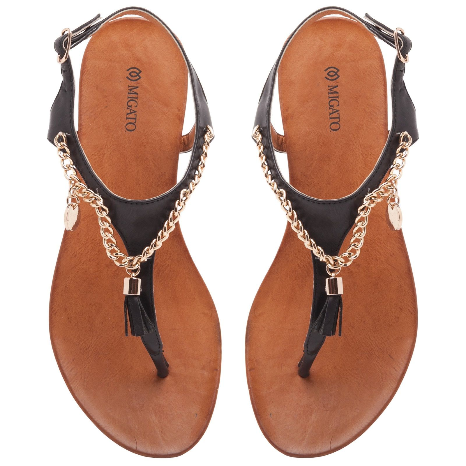 Black Sandal With Gold Chain Flat Sandals Migato Flat Shoes Women Women Shoes Flats Sandals Black Sandals