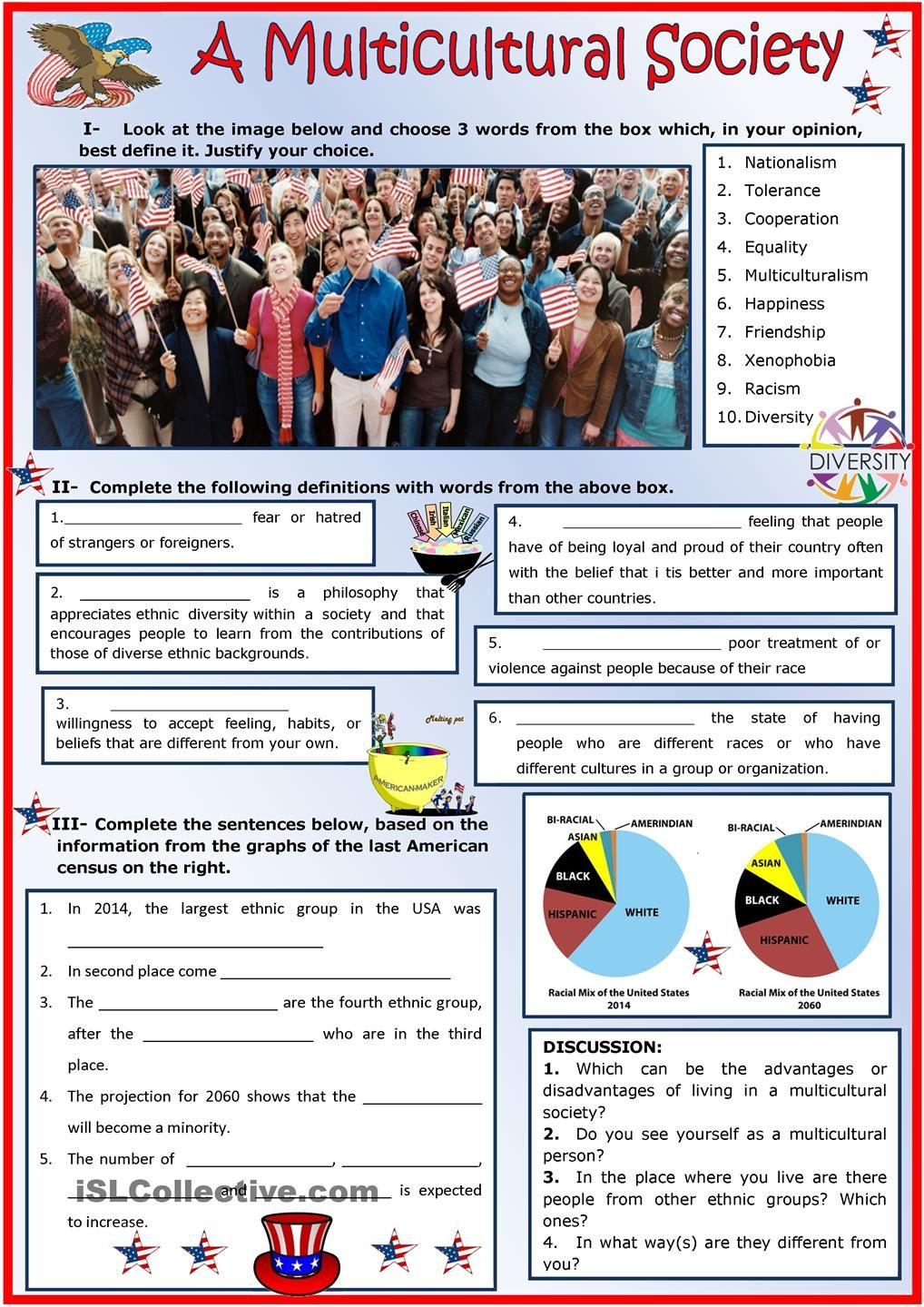 A Multicultural Society: ESL printable worksheet of the day on June ...