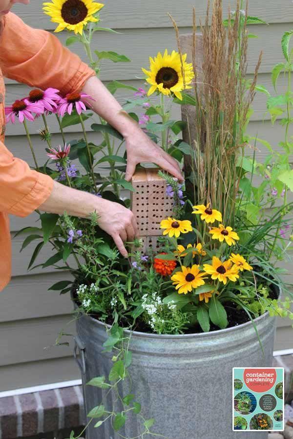 Grow A Fabulous Pollinator Garden In A Vintage Trashcan 400 x 300