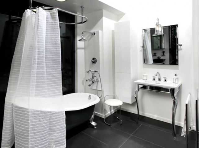 rideau de douche salle de bain pinterest salle de. Black Bedroom Furniture Sets. Home Design Ideas