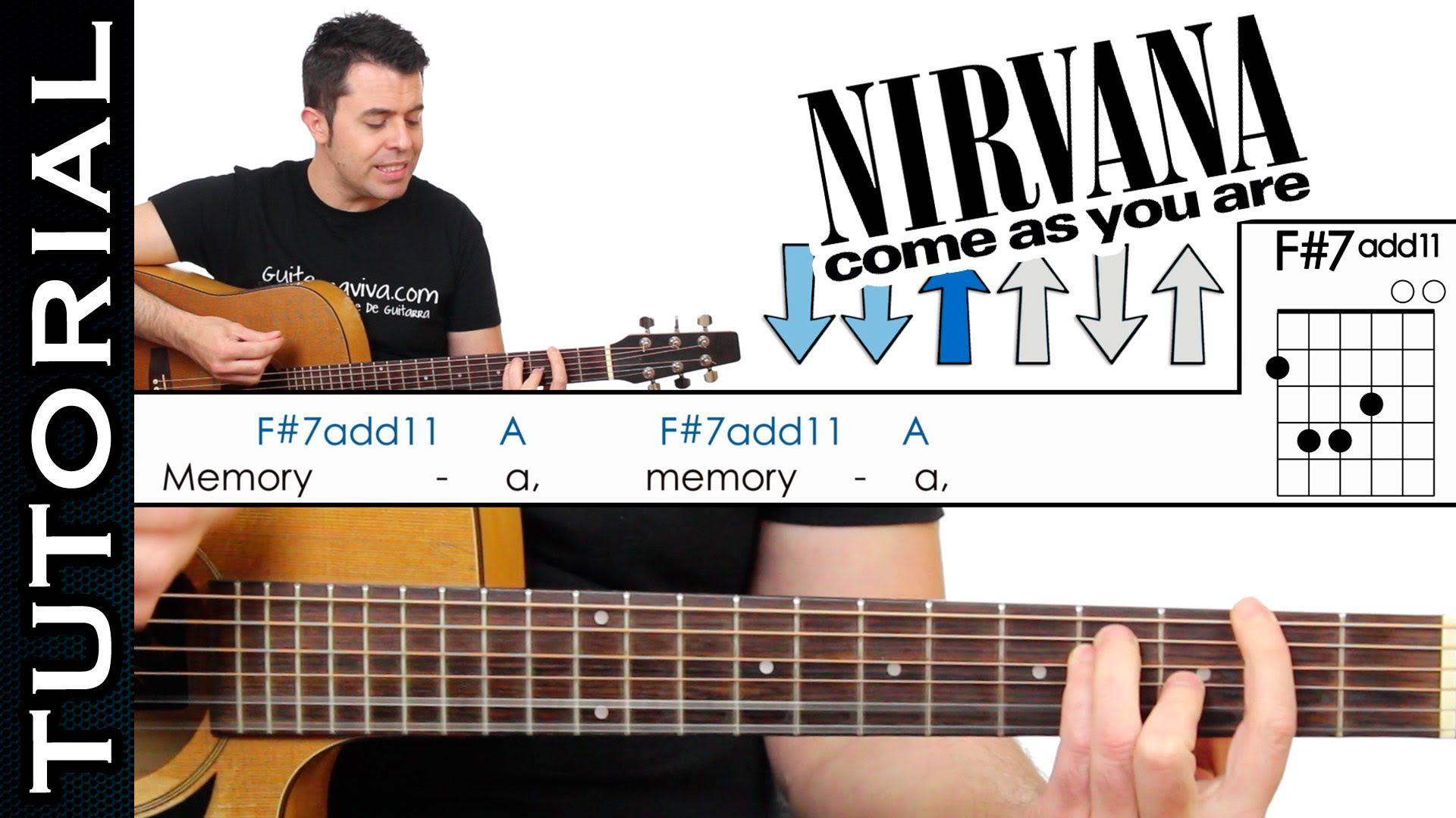 Como Tocar Come As You Are De Nirvana En Guitarra Acústica Completo Nirvana Guitarras Guitarra Acustica
