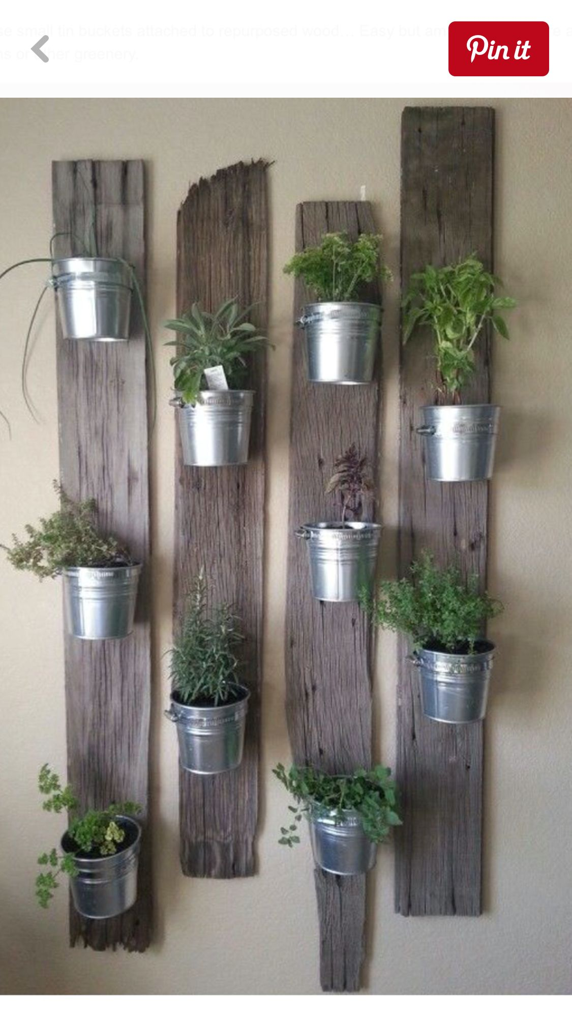Salvaged barn wood used as wall planters. An easy DIY ...