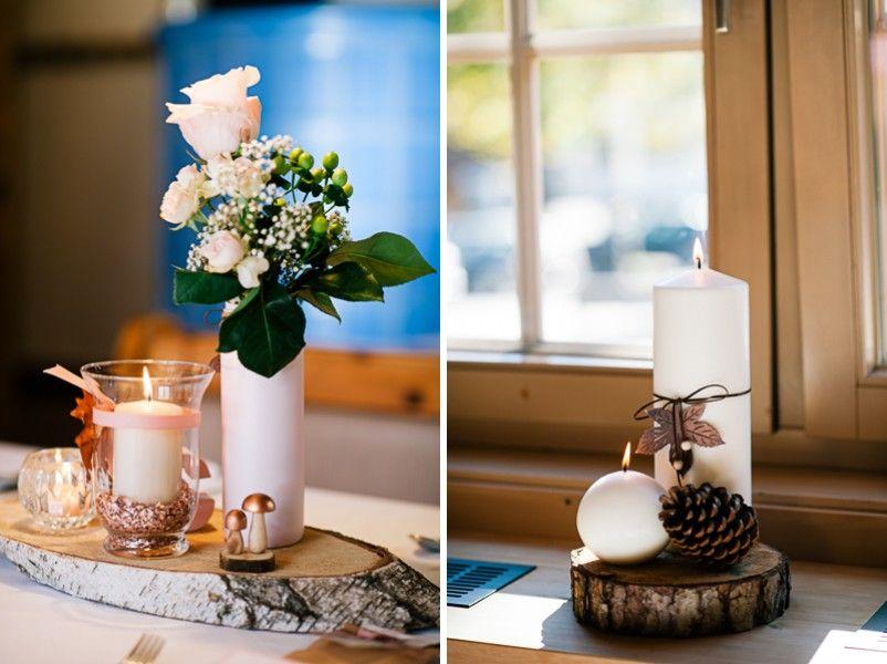 tischdeko mit holzscheibe und rose im vintage stil hochzeit tischdeko wedding decorations in. Black Bedroom Furniture Sets. Home Design Ideas