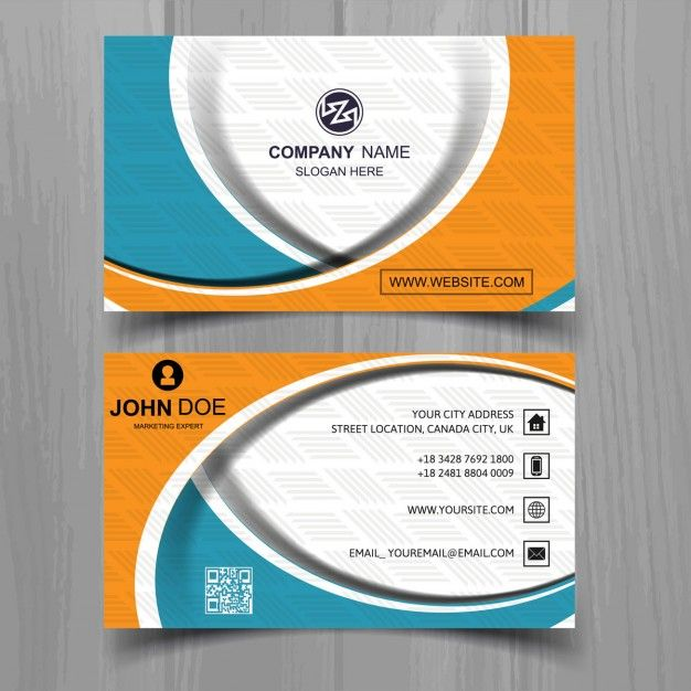 Colored business card in abstract design  Free Vector