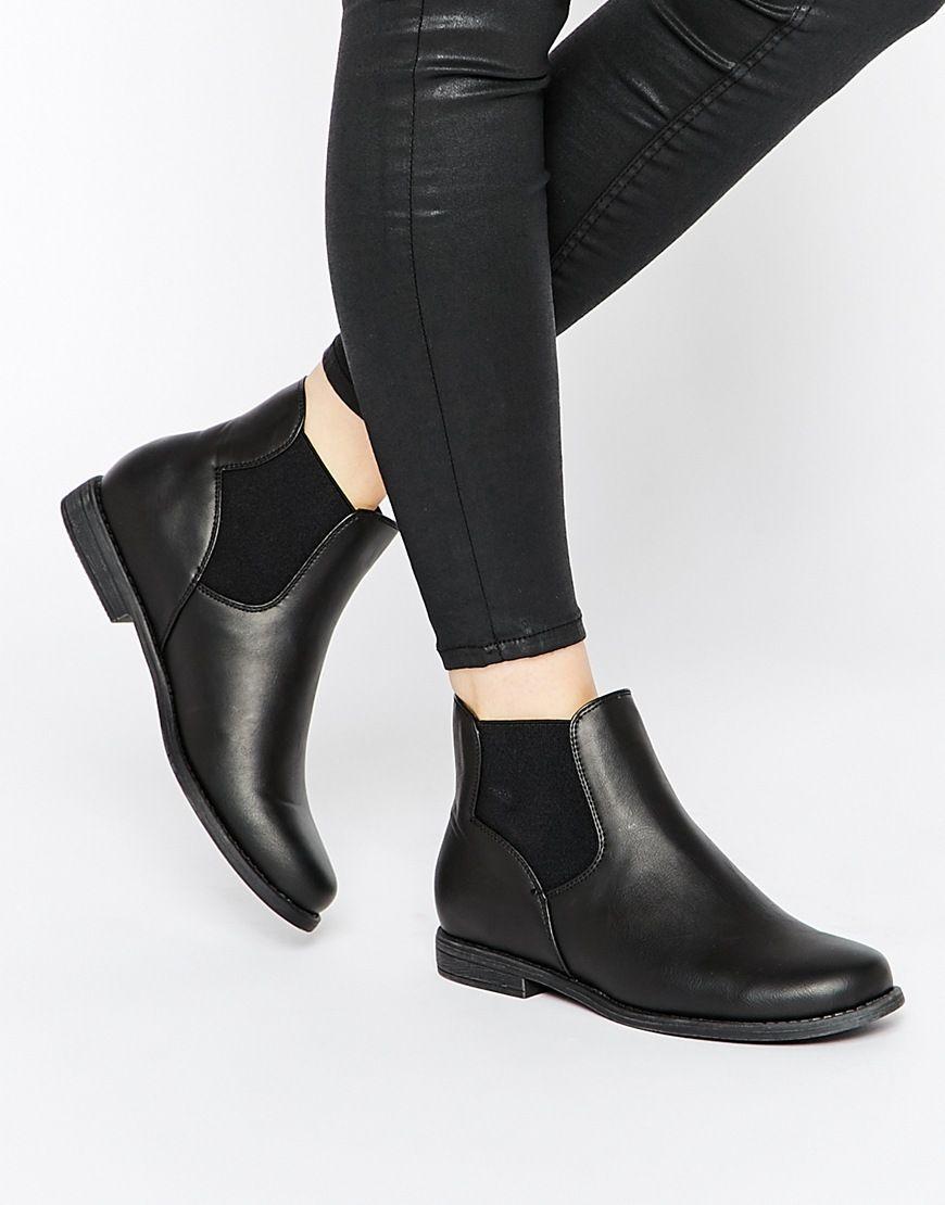 Boohoo Flat Chelsea Boots at asos.com
