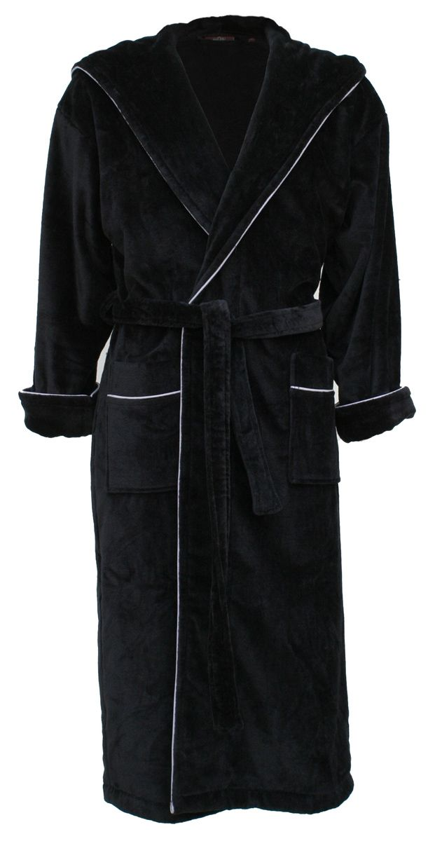 Cowdray Jet Black Luxury Hooded Bathrobe for Men   Women  7c302489d