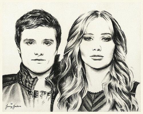Peeta And Katniss Drawing By Jenny Jenkins Hunger Games Fan Art