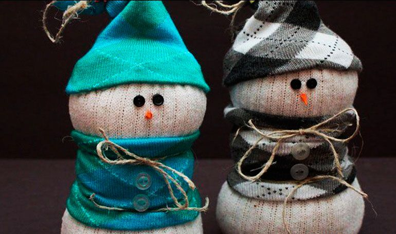 Snowman Christmas decorations photo - snowman made of sock