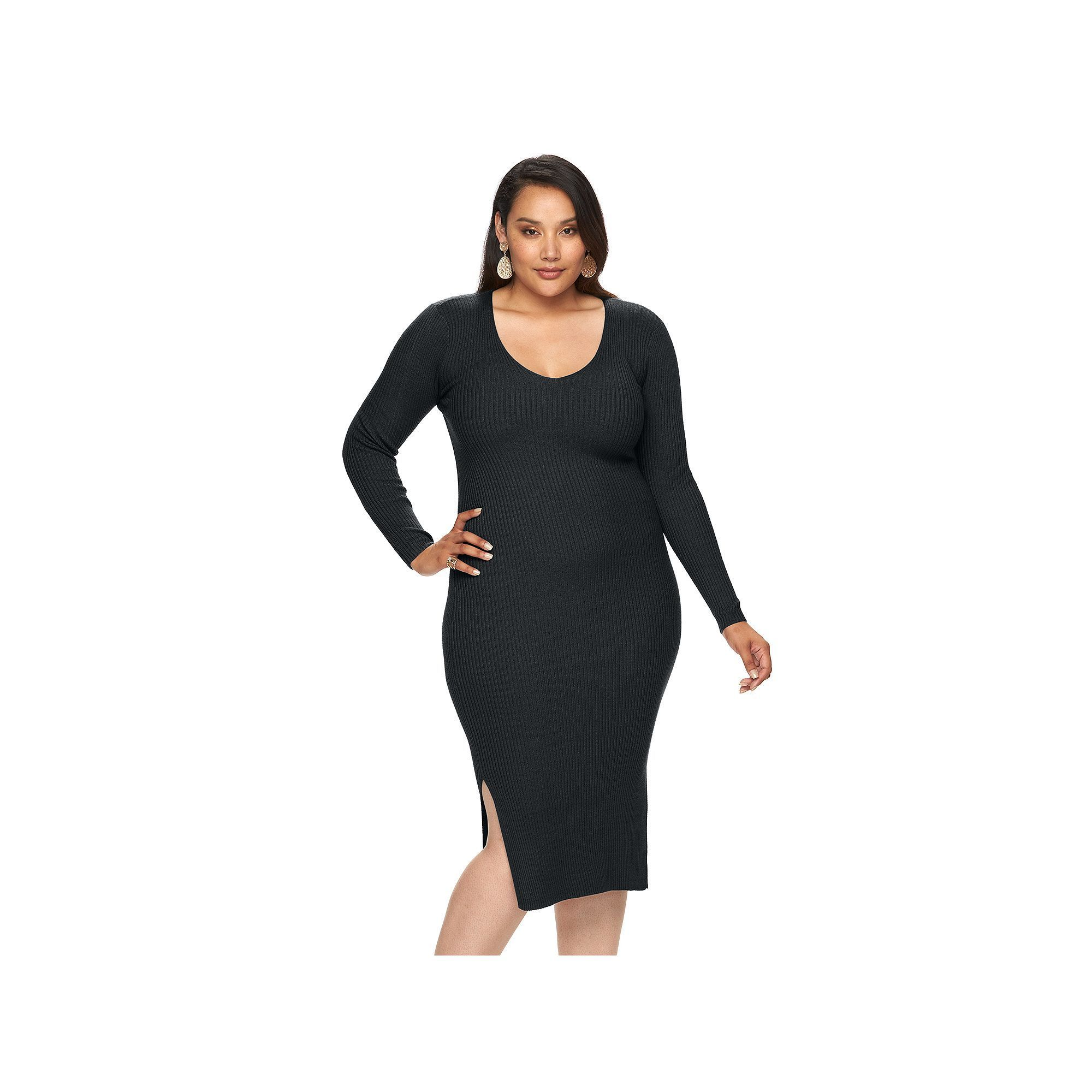 7e329cd8f8d Plus Size Jennifer Lopez Ribbed V-Neck Sweaterdress
