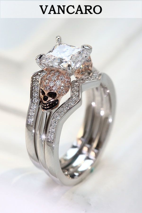 b7e0330e2 Rose Gold Plated Skull Wedding Rings In Sterling Silver For Women ...