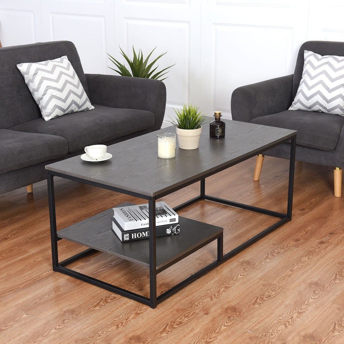 2 Tier Cocktail Accent End Coffee Table W Shelf Coffee Table
