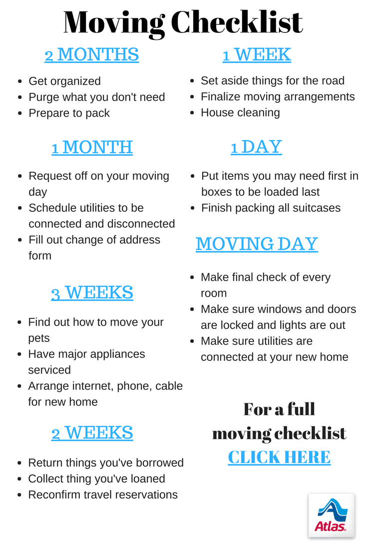 From Two Months Out To Moving Day Follow Our Moving Checklist To