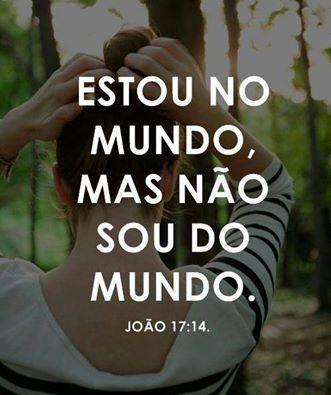 ESTOU NO MUNDO MAS NAO SOU DO MUNDO. JOAO 17:14