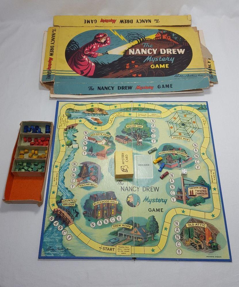 Vintage Nancy Drew Mystery Board Game Parker Brothers 1957