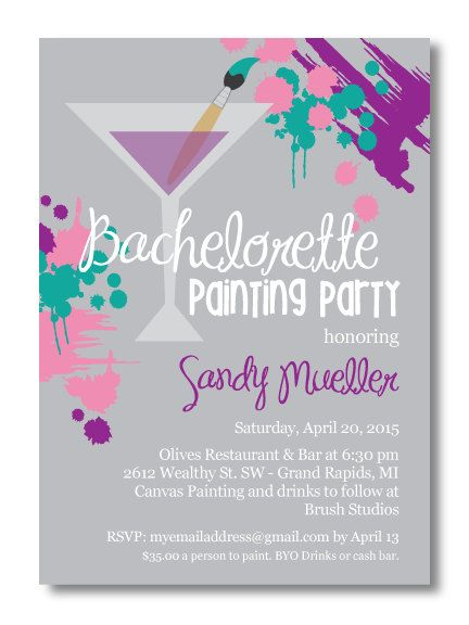 Printable Bachelorette Painting Party Invitation – Customizable Bachelorette Party Invitations