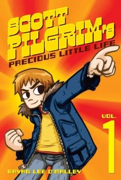 SCOTT PILGRIM'S PRECIOUS LITTLE LIFE  by Bryan Lee O'MalleyAt age 24 Scott Pilgrim meets Ramona Flowers, falls in love but that's where the usual boy-meets-girl story ends. Scott has to fight Ramona's seven evil exes.