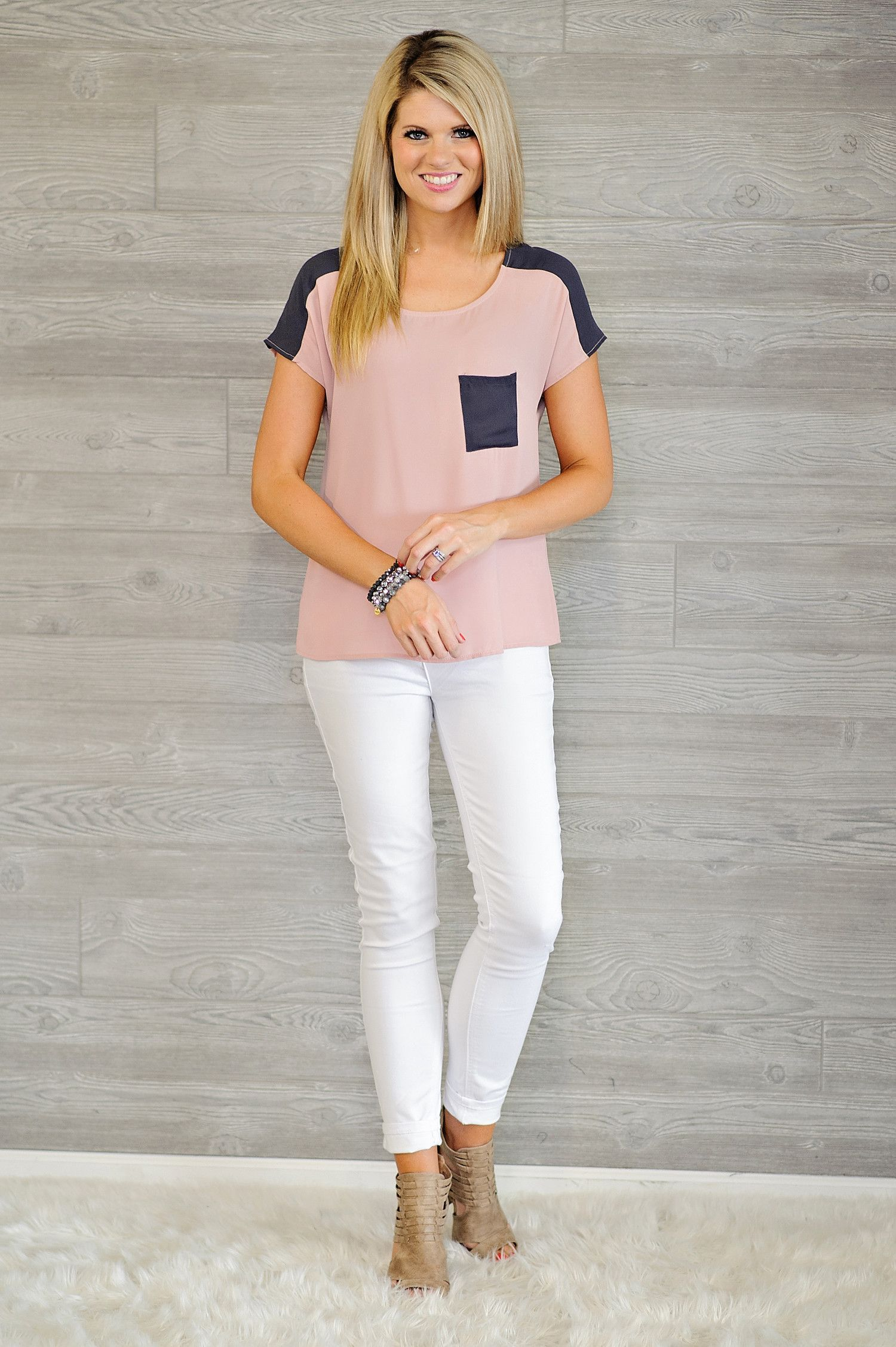 * Lizanne Blouse With Charcoal Accents - Blush