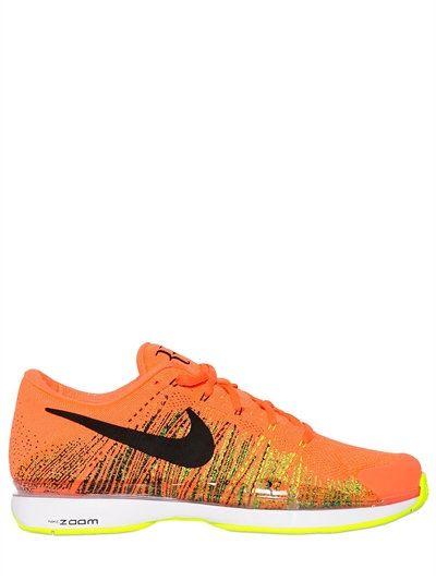 NIKE Federer Zoom Vapor Flyknit Sneakers, Neon Orange. #nike #tennis