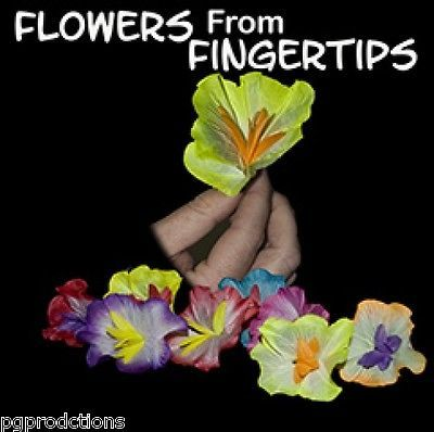 9 SILK SPRING FLOWERS FROM FINGERTIPS Magic Trick Bare Hand Magician