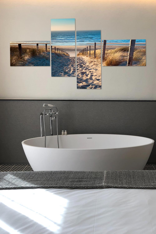 Wanddeko für Dein Badezimmer Nordseestrand als Glasbild in 20 ...