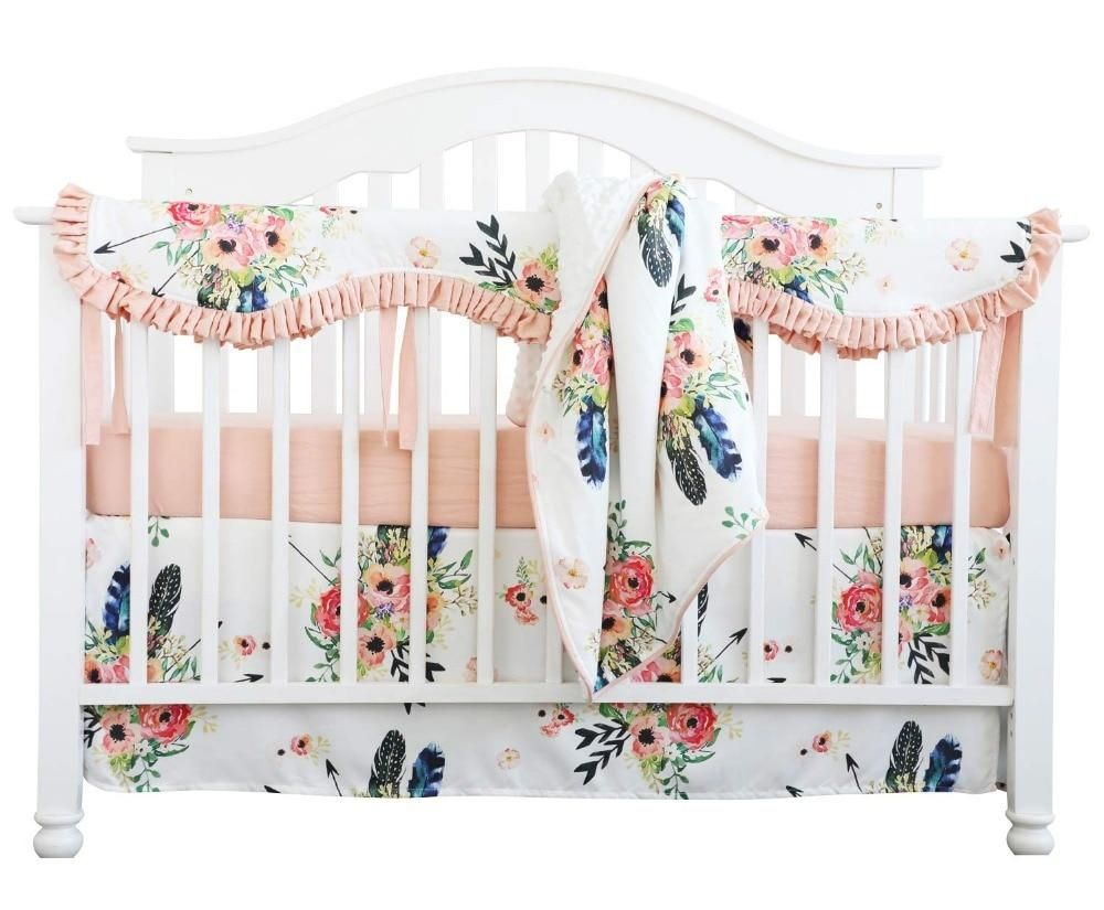 Coral Floral Nursery Bedding Baby Girl Bedding Sets Coral Baby Bedding Floral Baby Bedding