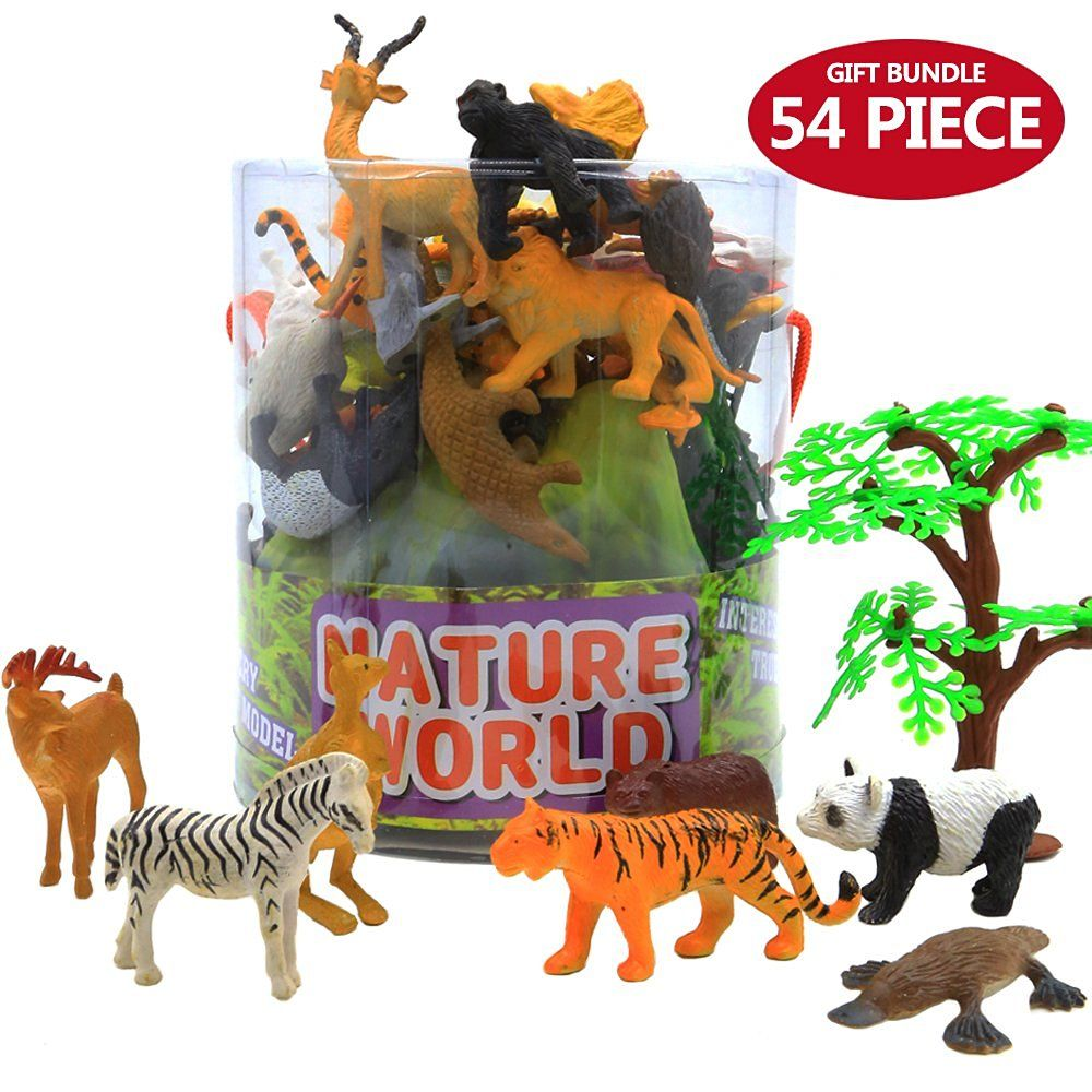 Toys & Hobbies Animals Figure54 Piece Mini Jungle Animals Toys Set With Gift Box Realistic Wild Making Things Convenient For Customers