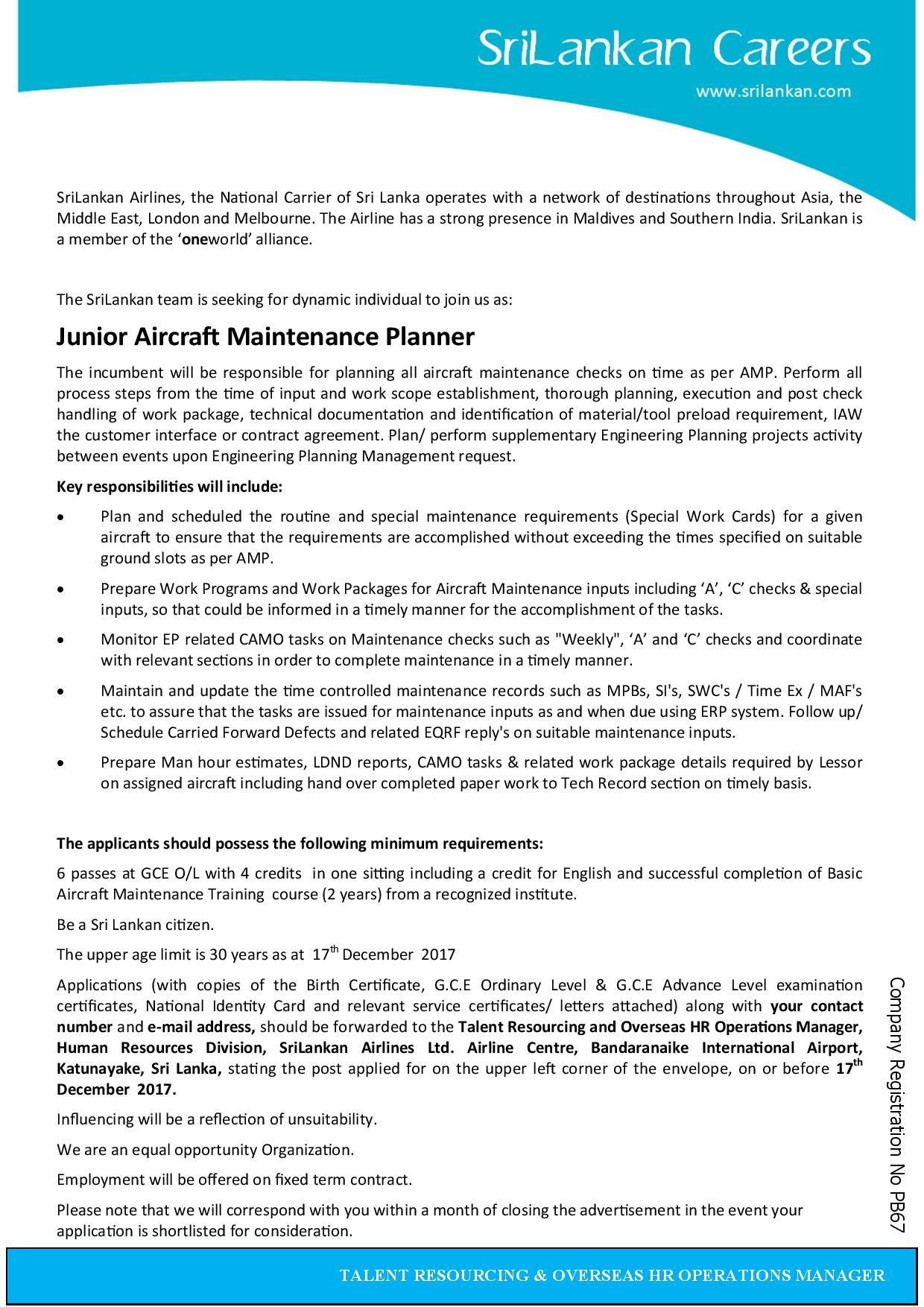 Aircraft Maintenance Planner Jobs In Uae Aircraft Maintenance Maintenance Jobs Aircraft