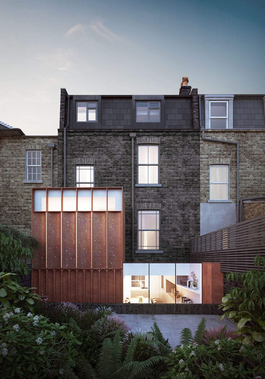 Corten house extension in islington www for Modern zinc houses