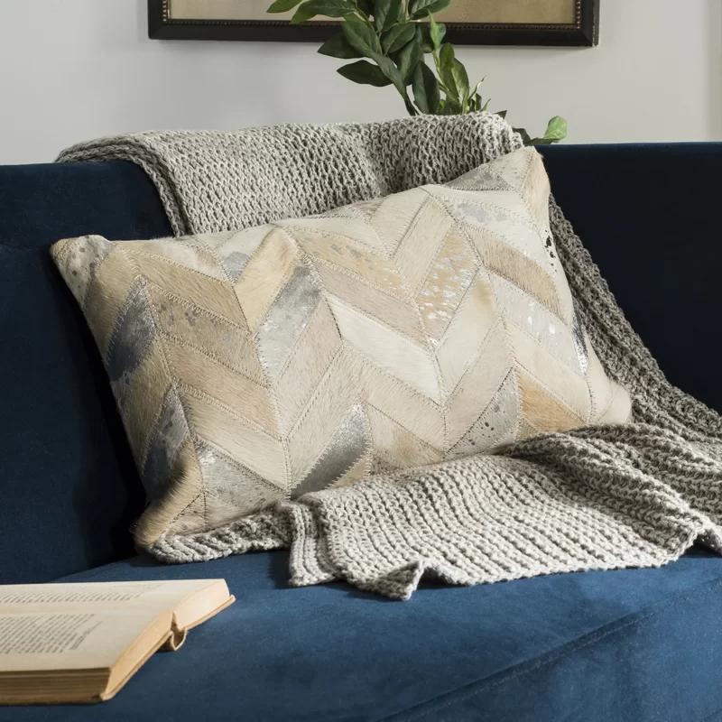 Union Rustic Quealy Metallic Herringbone Lumbar Pillow Wayfair Cowhide Pillows Geometric Pillow Pillows