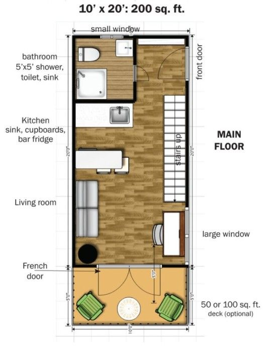 The two story design has 350 square feet of interior space 200 on