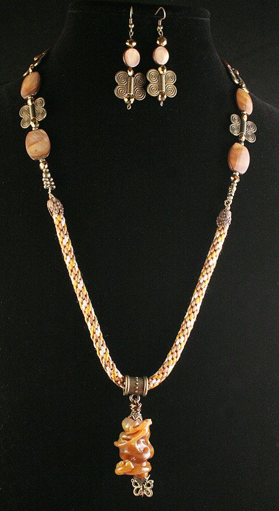Kumihimo and mother pearl necklace set by Studio53Jewelry on Etsy ...