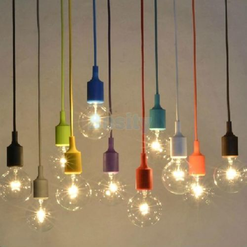 Silica Gel E27 Home Ceiling Pendant Lamp Light Bulb Holder Hanging Fixture Diy Vintage Light Bulbs Pendant Ceiling Lamp Hanging Ceiling Lights