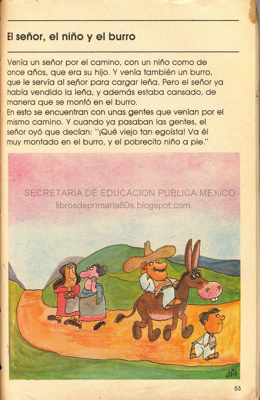 Elementary school text books (Mexico) El señor, el niño y el burro ...