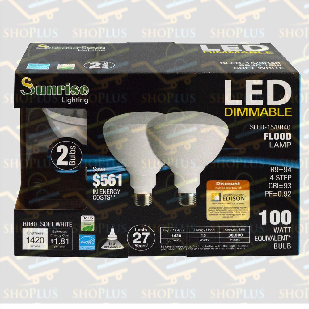 2 Pack Br40 Led 15w 2700k Warm White Indoor Outdoor Flood Light Bulbs 100 Watt Sunrise Outdoor Flood Lights Flood Lights Bulb