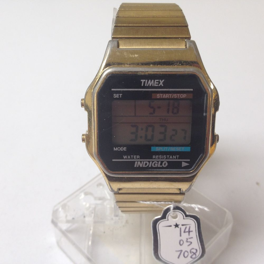 Timex Indiglo Mens Gold Tone Chronograph Alarm Watch Hours
