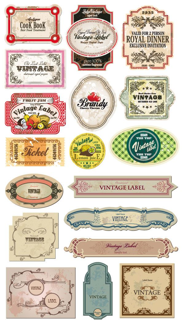 Classic European Style Bottle Labels And Stickers Vector Material Vector Free Vintage Paper Vintage Labels