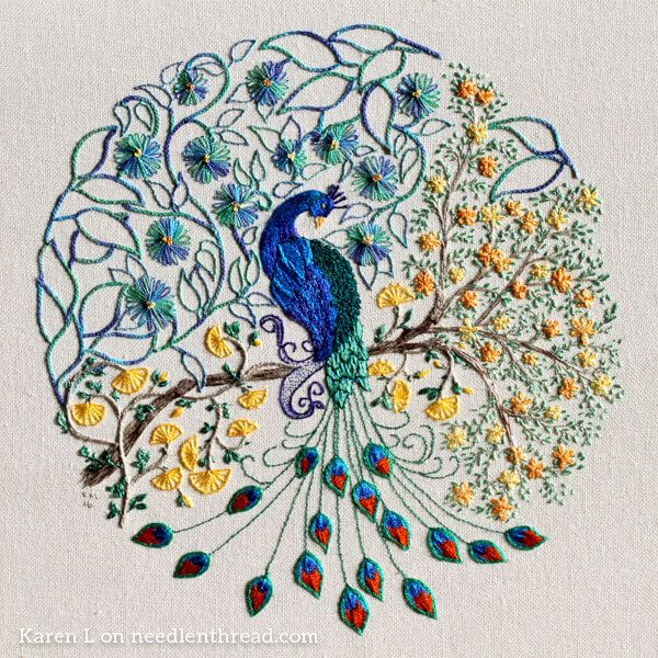Coloring Book Embroidery A Glorious Peacock Peacock Embroidery Designs Embroidery Patterns Crewel Embroidery