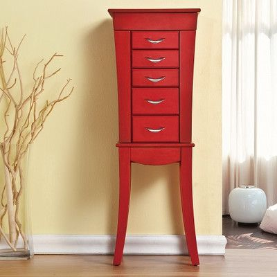 Paris Jewelry Armoire With Mirror Finish Red httpdelanicocom