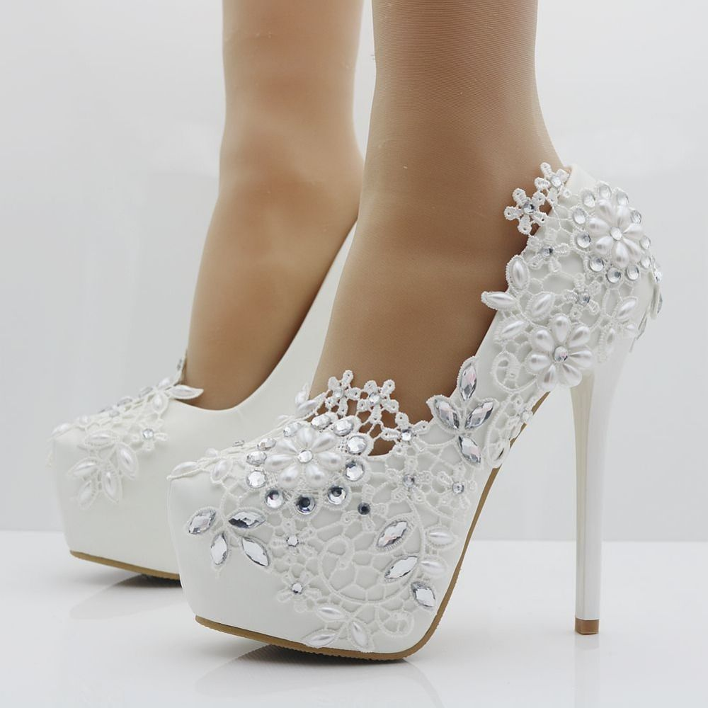 Elegant heels fashion white lace flower rhinestone pumps wedding