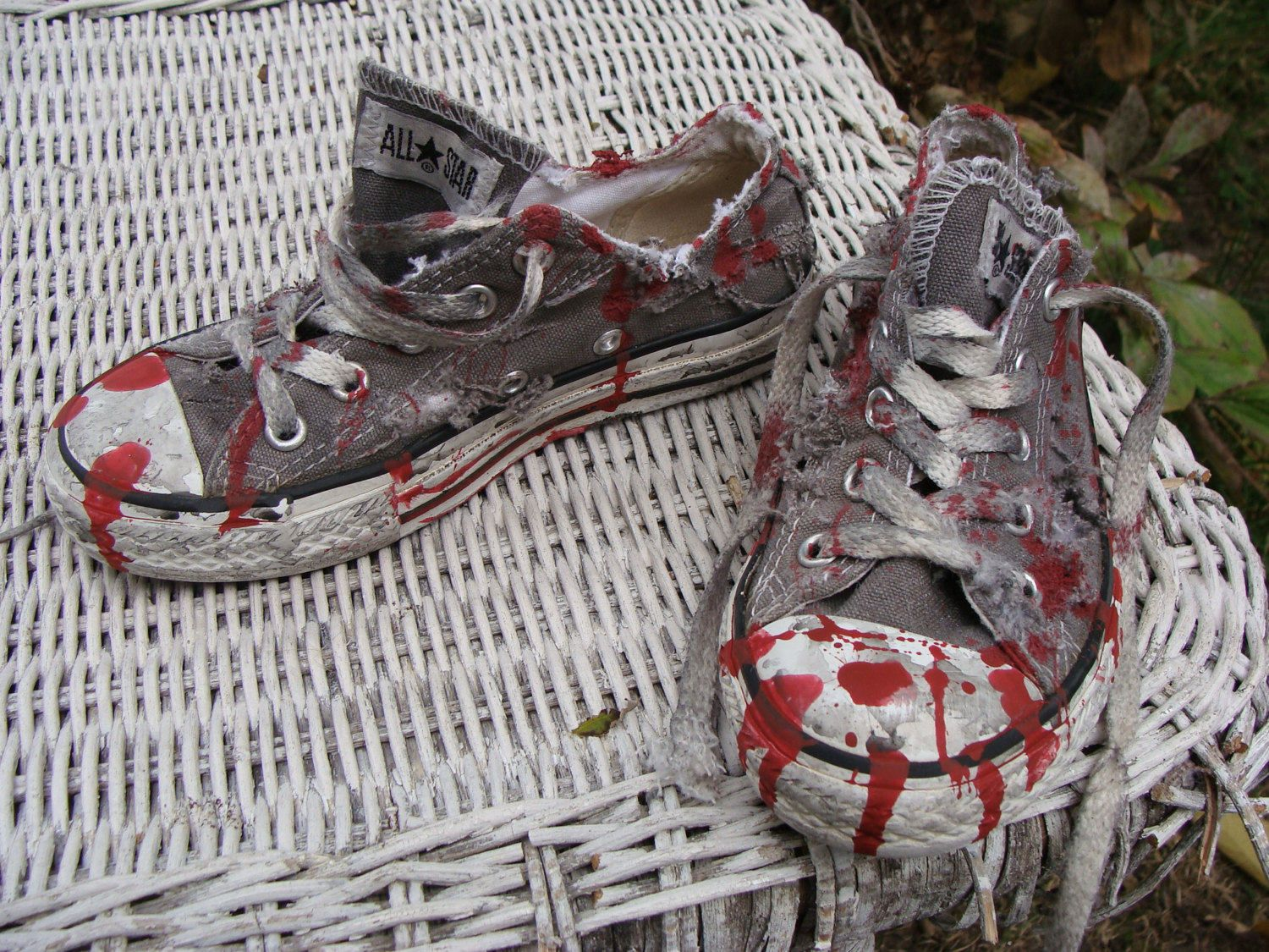ec89303021f9 Kids Zombie Shoes. Unisex Boys or Girls Realistic BLOODY SHOES. Gray  Converse All Star. Low Top Chucks. Halloween Costume. Youth Size 12 by  wardrobetheglobe ...