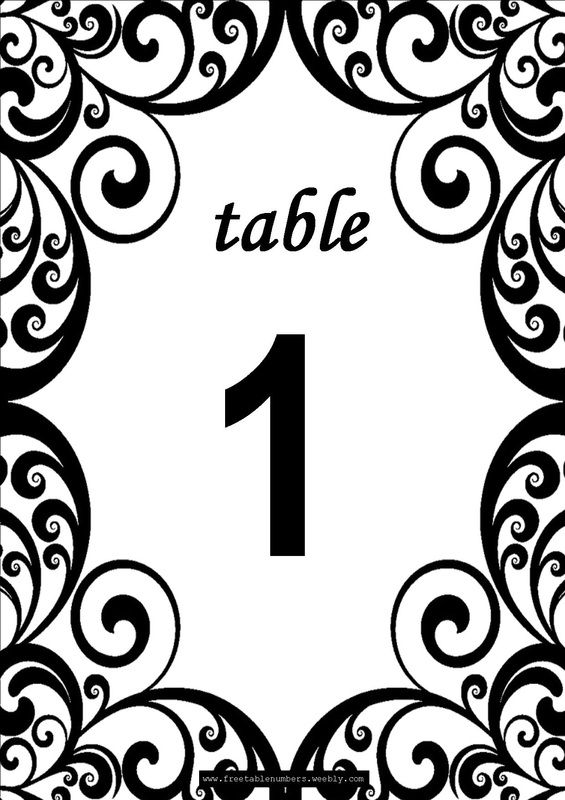 Free \'Swirls\' printable DIY Table Numbers for your wedding reception ...