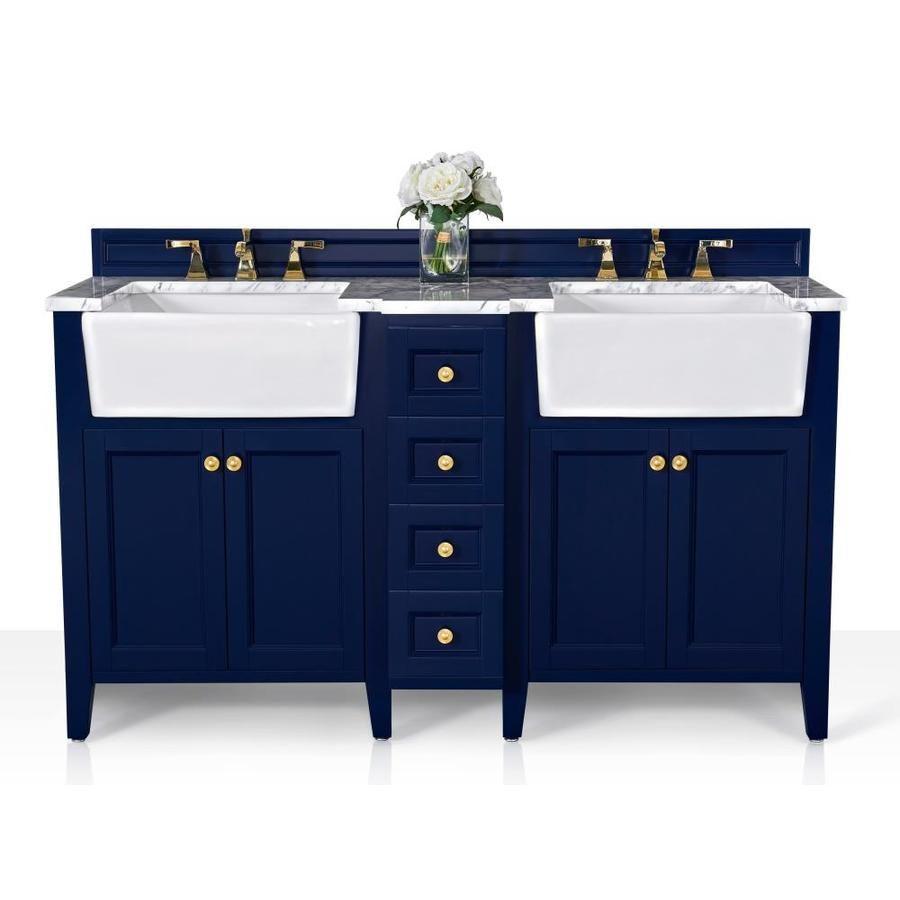 Ancerre Designs Adeline 60 In Heritage Blue Double Sink Bathroom