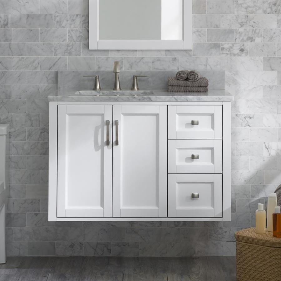 Allen Roth Floating 36 In White Single Sink Bathroom Vanity With