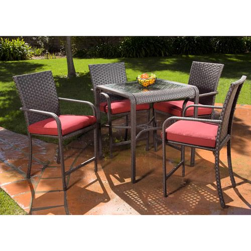 Rushreed 5 Piece Gathering Height Patio Dining Set, Seats 4: Patio Furniture  :